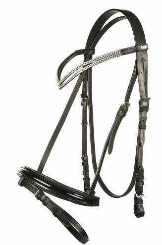 HKM Katinka Bridle V Bling Browband - Black